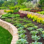 Natural stone landscaping in home garden